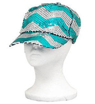 Aqua Sequins Chevron Baseball Hat