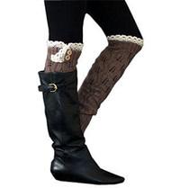 Brown Button Knit Leg Warmer