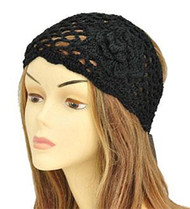 Black Floral Knit Fashion Headwrap