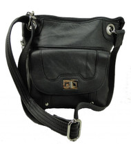 Roma Leathers 7028 Black Genuine Leather Turnlock Concealed Purse
