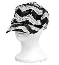 Black Sequins Chevron Baseball Hat