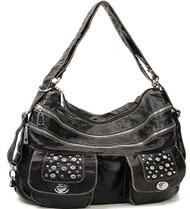Black Stone Washed Handbag