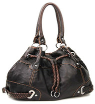 Brown Cinch Tie Stone Washed Handbag