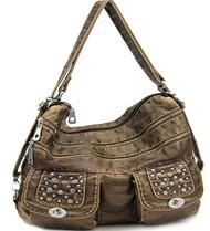 Bronze Stone Washed Handbag