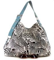Blue Zebra Print Contemporary Style Tote