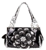 Crystal Leaf Black Leopard Rhinestone Flower Handbag