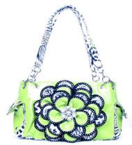 Crystal Leaf Lime Green Leopard Rhinestone Flower Handbag