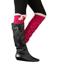 Fuchsia Button Knit Leg Warmer