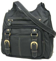 Black Genuine Leather Concealed Purse 7096