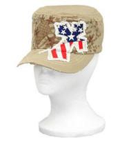 Khaki Stars and Stripes Rhinestone Cross Cadet Hat