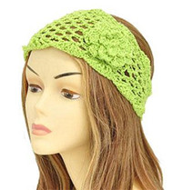 Lime Green Floral Knit Fashion Headwrap