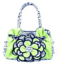 Lime Green Leopard Crystal Leaf Rhinestone Flower Fashion Handbag