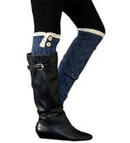 Navy Button Knit Leg Warmer