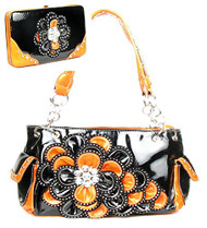 Black and Orange Rhinestone Flower Pocket Purse W Matching Wallet