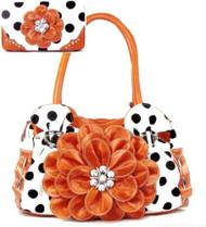 Polka Dot Orange Flower Rhinestone Purse W Matching Wallet