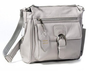 Roma Leathers 7084 Grey Messenger Crossbody Concealed Purse
