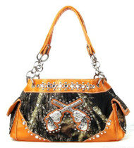 Western Orange Camouflage Double Pistol Handbag Purse