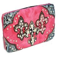 Pink Western Style Triple Fleur de lis with Diamonds Wallet