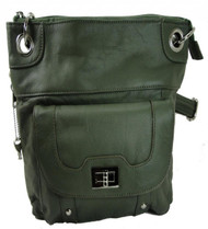 Concealed Carry Cross Body Leather Gun Purse with Locking Zipper Olive