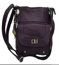Concealed Carry Cross Body Leather Gun Purse with Slash Resistant Strap-Purple