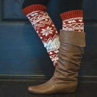 Knit Winter Leg Warmer Boot Accessorie-Red