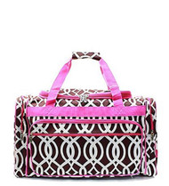 Lattice Vine Lightweight Cavas 20 Inch Shoulder Duffel Bag Brown