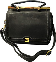 Roma Leathers 8006 Black Messenger Crossbody Concealed Purse