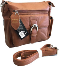 Roma Leathers 7084 Medium Brown Genuine Leather Pistol Concealment CCW Purse with Buckle