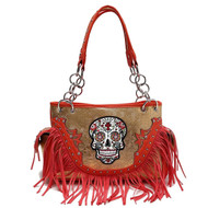 Coral Sugar Skull With Fringe Concealed Gun Carrier Western Handbag