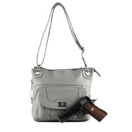 Concealed Carry Cross Body Leather Gun Purse with Slash Resistant Strap-Grey