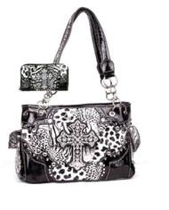 Western Cross Leopard Handbag Rhinestone Pocket Purse With Matching Wallet (Black)