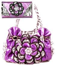 Purple Leopard Crystal Leaf Rhinestone Flower Fashion Handbag W Matching  Trifold Wallet