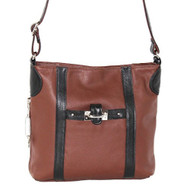 Roma Leathers 7097 Brown With Black Trim Crossbody Messenger