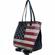 USA Vintage American Flag Purse (Leatherette- Black)