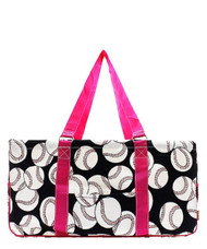 Baseball Print NGIL Utility Tote Shopping Bag-Pink