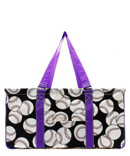 Baseball Print NGIL Utility Tote Shopping Bag-Purple