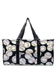 Baseball Print NGIL Utility Tote Shopping Bag-Black