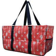 Arrow Print Large Canvas Utility Tote Bag-Coral