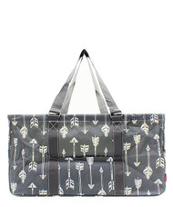 Arrow Print Large Canvas Utility Tote Bag-Gray