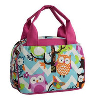 Owl Chevron Stripe Canvas Small Insulated Lunch Tote (PINK)
