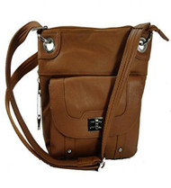 Concealed Carry Cross Body Leather Gun Purse with Locking Zipper Light Brown