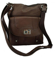 Concealed Carry Cross Body Leather Gun Purse with Locking Zipper Brown