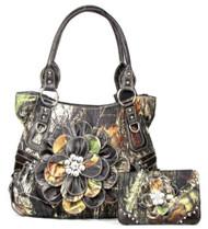 Western Brown Camouflage Flower Rhinestone Purse W Matching Wallet
