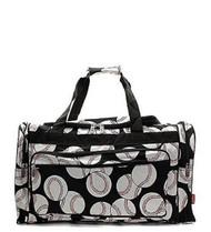 "Handbag Inc Canvas Lightweight Baseball Print 20"" Duffel Bag Black"