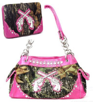 Western Pistol Gun Pink Camouflage Rhinestone Handbag W Matching Wallet