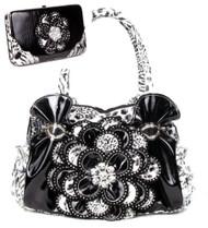Black Leopard Crystal Leaf Rhinestone Flower Fashion Handbag W Matching Wallet