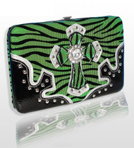 Lime Green Zebra Western Style Cross Wallet with Rhinestones