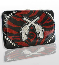 Red Zebra Fashion Double Pistol Wallet With Rhinestones