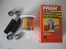 "Fram G3 Universal 3/8"" Inline Plastic Fuel Filter with Hoses and Clamps"