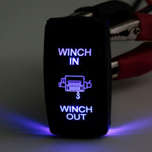 JEEP SUV Truck Winch In Winch Out  Rocker Switch 12V 20A 24V 10A 7Pin Blue LED